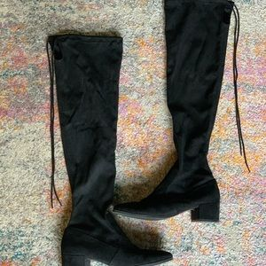 Shoes - Black Knee High Heeled Boots